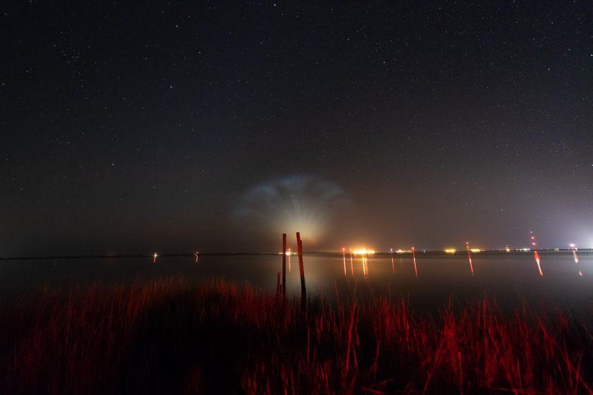 Rocket exhaust plume illuminated by sun